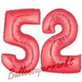 Zahl 52, Rot, Luftballons aus Folie zum 52. Geburtstag, 100 cm, inklusive Helium