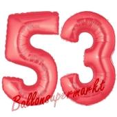 Zahl 53, Rot, Luftballons aus Folie zum 53. Geburtstag, 100 cm, inklusive Helium