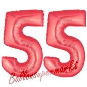 Zahl 55, Rot, Luftballons aus Folie zum 55. Geburtstag, 100 cm, inklusive Helium