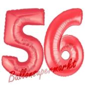 Zahl 56, Rot, Luftballons aus Folie zum 56. Geburtstag, 100 cm, inklusive Helium
