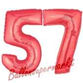 Zahl 57, Rot, Luftballons aus Folie zum 57. Geburtstag, 100 cm, inklusive Helium