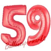 Zahl 59, Rot, Luftballons aus Folie zum 59. Geburtstag, 100 cm, inklusive Helium