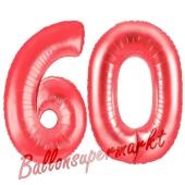 Zahl 60, Rot, Luftballons aus Folie zum 60. Geburtstag