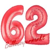 Zahl 62, Rot, Luftballons aus Folie zum 62. Geburtstag, 100 cm, inklusive Helium