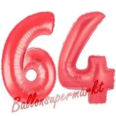 Zahl 64, Rot, Luftballons aus Folie zum 64. Geburtstag, 100 cm, inklusive Helium