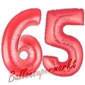 Zahl 65, Rot, Luftballons aus Folie zum 65. Geburtstag, 100 cm, inklusive Helium