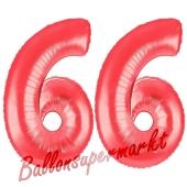 Zahl 66, Rot, Luftballons aus Folie zum 66. Geburtstag, 100 cm, inklusive Helium
