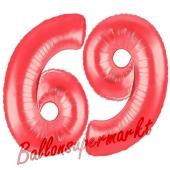 Zahl 69, Rot, Luftballons aus Folie zum 69. Geburtstag, 100 cm, inklusive Helium