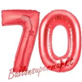 Zahl 70, Rot, Luftballons aus Folie zum 70. Geburtstag