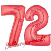 Zahl 72 Rot, Luftballons aus Folie zum 72. Geburtstag, 100 cm, inklusive Helium
