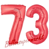 Zahl 73 Rot, Luftballons aus Folie zum 73. Geburtstag, 100 cm, inklusive Helium