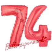 Zahl 74 Rot, Luftballons aus Folie zum 74. Geburtstag, 100 cm, inklusive Helium