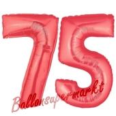 Zahl 75 Rot, Luftballons aus Folie zum 75. Geburtstag, 100 cm, inklusive Helium