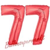 Zahl 77 Rot, Luftballons aus Folie zum 77. Geburtstag, 100 cm, inklusive Helium