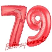 Zahl 79 Rot, Luftballons aus Folie zum 79. Geburtstag, 100 cm, inklusive Helium