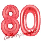 Zahl 80, Rot, Luftballons aus Folie zum 80. Geburtstag