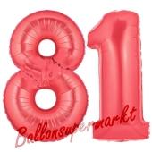 Zahl 81 Rot, Luftballons aus Folie zum 81. Geburtstag, 100 cm, inklusive Helium