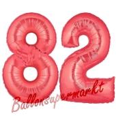 Zahl 82 Rot, Luftballons aus Folie zum 82. Geburtstag, 100 cm, inklusive Helium