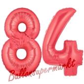 Zahl 84 Rot, Luftballons aus Folie zum 84. Geburtstag, 100 cm, inklusive Helium