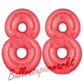 Zahl 88 Rot, Luftballons aus Folie zum 88. Geburtstag, 100 cm, inklusive Helium