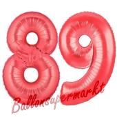 Zahl 89 Rot, Luftballons aus Folie zum 89. Geburtstag, 100 cm, inklusive Helium