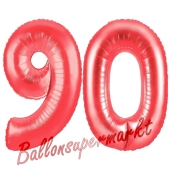 Zahl 90, Rot, Luftballons aus Folie zum 90. Geburtstag