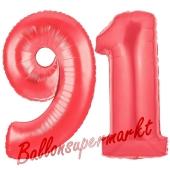 Zahl 91, Rot, Luftballons aus Folie zum 91. Geburtstag, 100 cm, inklusive Helium