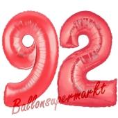 Zahl 92, Rot, Luftballons aus Folie zum 92. Geburtstag, 100 cm, inklusive Helium