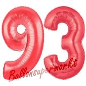 Zahl 93, Rot, Luftballons aus Folie zum 93. Geburtstag, 100 cm, inklusive Helium