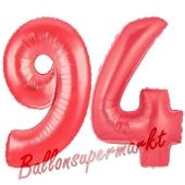 Zahl 94, Rot, Luftballons aus Folie zum 94. Geburtstag, 100 cm, inklusive Helium