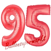 Zahl 95, Rot, Luftballons aus Folie zum 95. Geburtstag, 100 cm, inklusive Helium