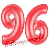 Zahl 96, Rot, Luftballons aus Folie zum 96. Geburtstag, 100 cm, inklusive Helium