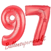 Zahl 97, Rot, Luftballons aus Folie zum 97. Geburtstag, 100 cm, inklusive Helium