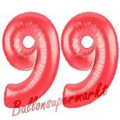 Zahl 99, Rot, Luftballons aus Folie zum 99. Geburtstag, 100 cm, inklusive Helium