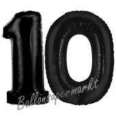 Zahl 10 Schwarz, Luftballons aus Folie zum 10. Geburtstag, 100 cm, inklusive Helium