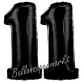 Zahl 11 Schwarz, Luftballons aus Folie zum 11. Geburtstag, 100 cm, inklusive Helium