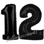Zahl 12 Schwarz, Luftballons aus Folie zum 12. Geburtstag, 100 cm, inklusive Helium