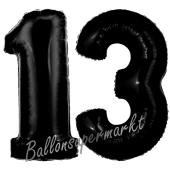 Zahl 13 Schwarz, Luftballons aus Folie zum 13. Geburtstag, 100 cm, inklusive Helium
