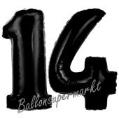 Zahl 14 Schwarz, Luftballons aus Folie zum 14. Geburtstag, 100 cm, inklusive Helium