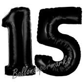 Zahl 15 Schwarz, Luftballons aus Folie zum 15. Geburtstag, 100 cm, inklusive Helium
