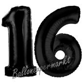 Zahl 16 Schwarz, Luftballons aus Folie zum 16. Geburtstag, 100 cm, inklusive Helium