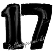 Zahl 17 Schwarz, Luftballons aus Folie zum 17. Geburtstag, 100 cm, inklusive Helium