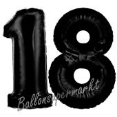 Zahl 18 Schwarz, Luftballons aus Folie zum 18. Geburtstag, 100 cm, inklusive Helium