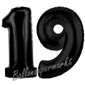 Zahl 19 Schwarz, Luftballons aus Folie zum 19. Geburtstag, 100 cm, inklusive Helium