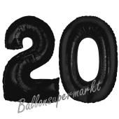 Zahl 20 Schwarz, Luftballons aus Folie zum 20. Geburtstag, 100 cm, inklusive Helium