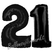 Zahl 21 Schwarz, Luftballons aus Folie zum 21. Geburtstag, 100 cm, inklusive Helium