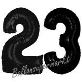 Zahl 23 Schwarz, Luftballons aus Folie zum 23. Geburtstag, 100 cm, inklusive Helium