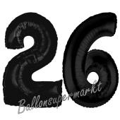 Zahl 26 Schwarz, Luftballons aus Folie zum 26. Geburtstag, 100 cm, inklusive Helium