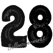 Zahl 28  Schwarz, Luftballons aus Folie zum 28. Geburtstag, 100 cm, inklusive Helium