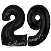 Zahl 29 Schwarz, Luftballons aus Folie zum 29. Geburtstag, 100 cm, inklusive Helium